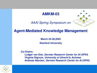 AMKM-03 AAAI Spring Symposium on Agent-Mediated Knowledge Management March 24-26,2003