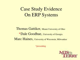 Case Study Evidence  On ERP Systems