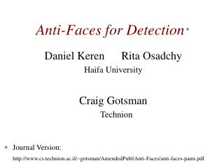 Anti-Faces for Detection