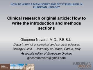 Clinical research original article: How to write the introduction and methods sections