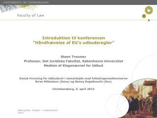"""Introduktion til konferencen  """"Håndhævelse af EU's udbudsregler"""""""