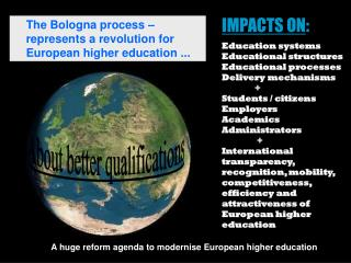 IMPACTS ON : Education systems Educational structures Educational processes Delivery mechanisms