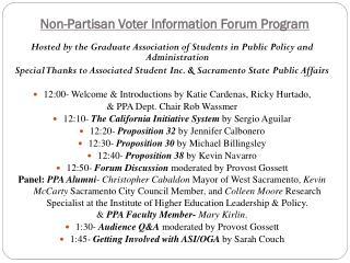 Non-Partisan Voter Information Forum Program