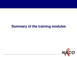 Summary of the training modules