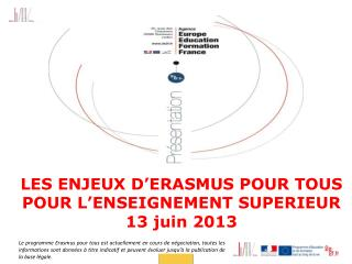 LES ENJEUX D'ERASMUS POUR TOUS POUR L'ENSEIGNEMENT SUPERIEUR 13 juin 2013