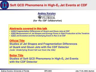 Soft QCD Phenomena in High-E T  Jet Events at CDF