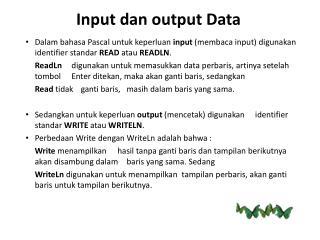 Input  dan  output  Data