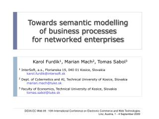 Towards semantic modelling  of business processes  for networked enterprises