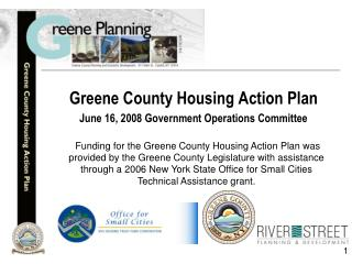 Greene County Housing Action Plan June 16, 2008 Government Operations Committee