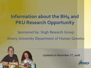 Information about the BH4 and PKU Research Opportunity