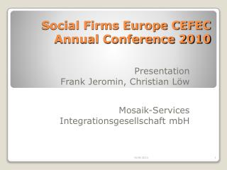 Social Firms Europe CEFEC Annual Conference 2010