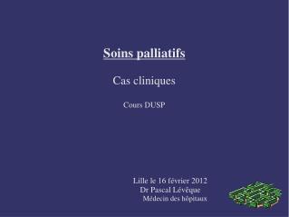 Soins palliatifs Cas cliniques Cours DUSP                           Lille le 16 f�vrier 2012