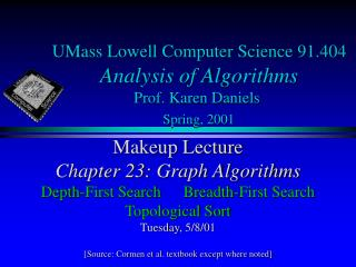 UMass Lowell Computer Science 91.404 Analysis of Algorithms Prof. Karen Daniels Spring, 2001