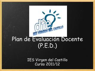 Plan de Evaluación Docente (P.E.D.)