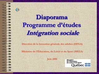 Diaporama Programme d'études Intégration sociale