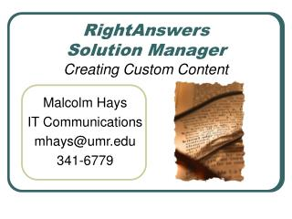 RightAnswers Solution Manager  Creating Custom Content