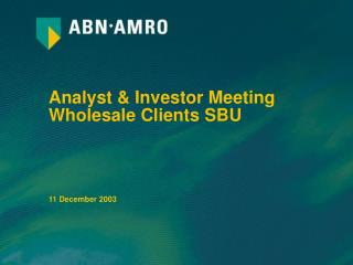 Analyst & Investor Meeting Wholesale Clients SBU