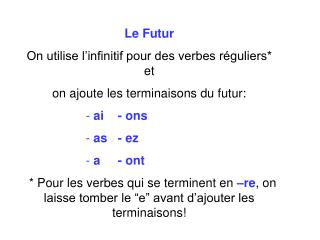 Le  Futur On utilise l'infinitif pour des verbes réguliers* et