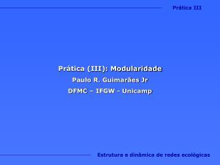 Prática (III): Modularidade Paulo R. Guimarães Jr DFMC – IFGW - Unicamp