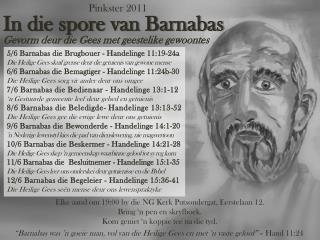 In die spore van Barnabas