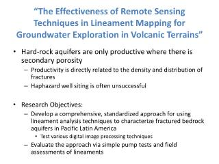 The Effectiveness of Remote Sensing Techniques in Lineament Mapping for Groundwater Exploration in Volcanic Terrains