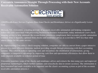 Corcentric Announces Straight Through Processing with their