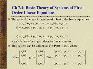 Ch 7.4: Basic Theory of Systems of First Order Linear Equations
