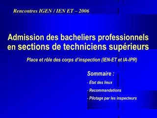 Admission des bacheliers professionnels en  sections de techniciens supérieurs