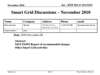 Smart Grid Discussions – November 2010