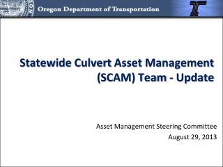 Statewide  Culvert  Asset Management  ( SCAM) Team  - Update