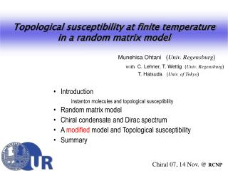 Introduction   instanton molecules and topological susceptibility Random matrix model