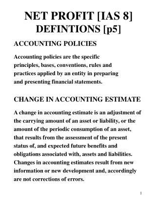 NET PROFIT [IAS 8] DEFINTIONS [p5]
