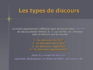 Les types de discours