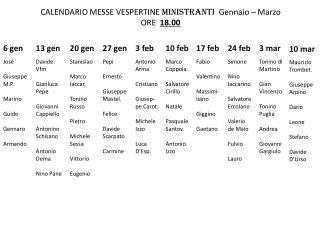 CALENDARIO MESSE VESPERTINE  MINISTRANTI   Gennaio – Marzo ORE   18.00