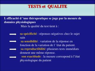 TESTS et  QUALITE