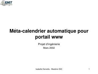 Méta-calendrier automatique pour portail www