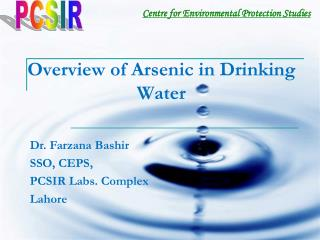 Overview of Arsenic in Drinking Water