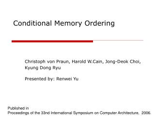 Conditional Memory Ordering