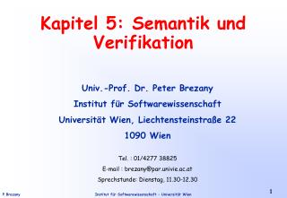 Kapitel 5: Semantik und Verifikation