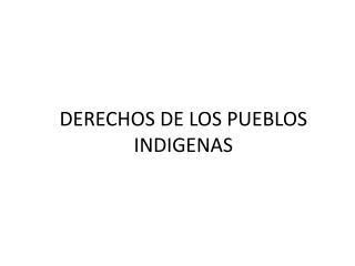 DERECHOS DE LOS PUEBLOS INDIGENAS