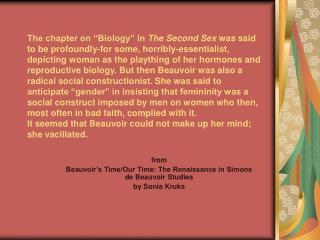 from Beauvoir�s Time/Our Time: The Renaissance in Simone de Beauvoir Studies by Sonia Kruks