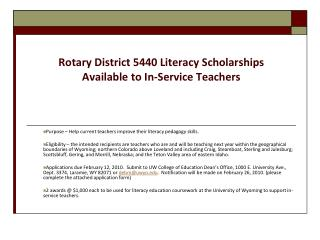 Rotary District 5440 Literacy Scholarships  Available to In-Service Teachers
