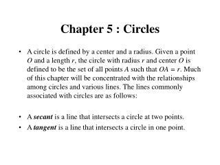 Chapter 5 : Circles