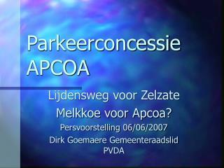 Parkeerconcessie APCOA