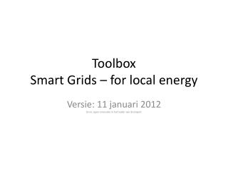 Toolbox Smart  Grids  –  for local energy