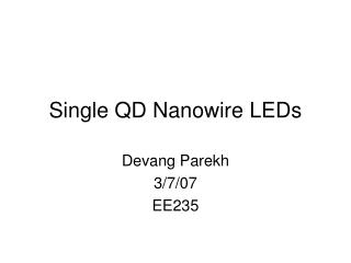 Single QD Nanowire LEDs