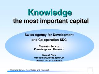 Swiss Agency for Development  and Co-operation SDC Thematic Service Knowledge and Research