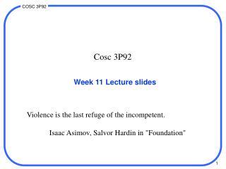 Week 11 Lecture slides