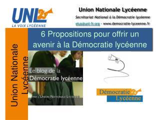 6 Propositions pour offrir un avenir � la D�mocratie lyc�enne
