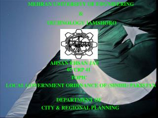 MEHRAN UNIVERSITY OF ENGNIEERING  &  TECHNOLOGY JAMSHORO